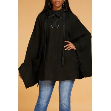 Lovely Casual Cloak Design Black Hoodie