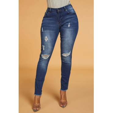 Lovely Trendy Broken Holes Blue Jeans