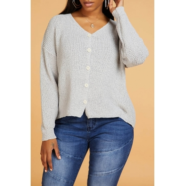 Lovely Casual Buttons Design Grey Cardigan