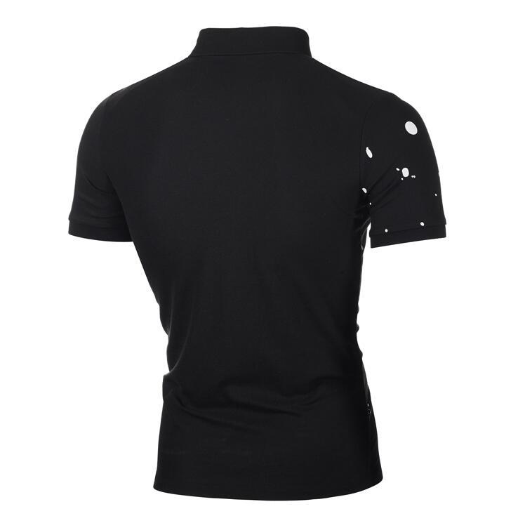 Lovely Leisure POLO Collar Print Black Shirt