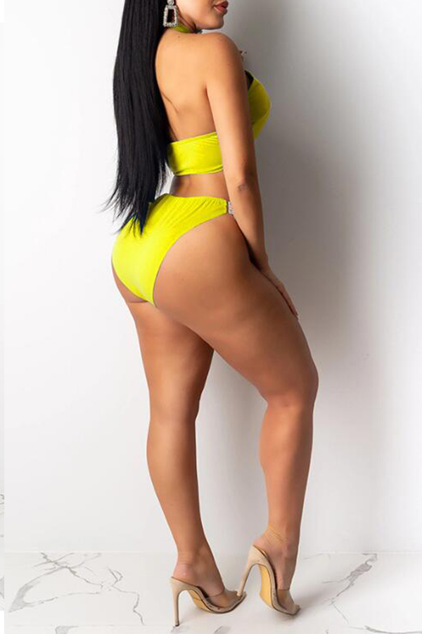 Lovely Hollow-out Yellow Two-piece Swimwear(With Cover-up)