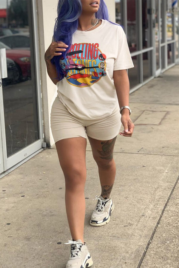 Lovely Chic Print Khaki Two-piece Shorts Set