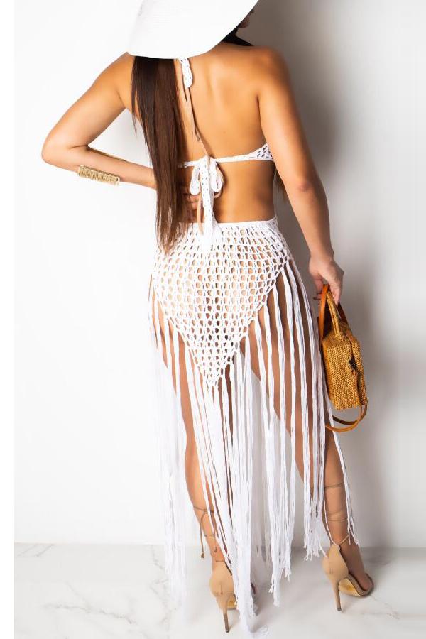 Lovely Chic Tassel Design White Beach Skirt Set