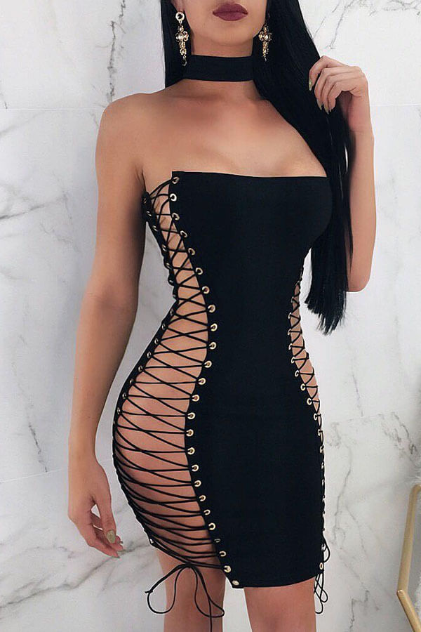 Lovely Sexy Sleeveless Hollow-out Black Mini Dress