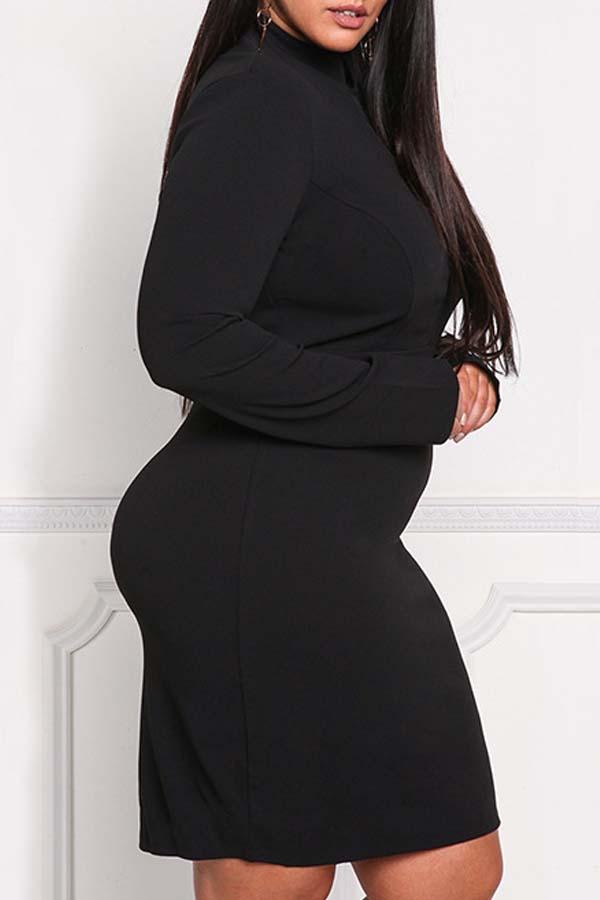 Lovely Casual Half A Turtleneck Patchwork Black Plus Size Mini Dress