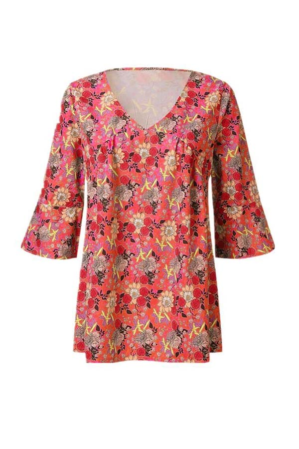 Lovely Leisure V Neck Print Red Plus Size Blouse