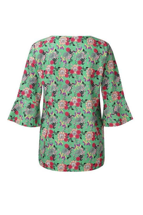 Lovely Leisure V Neck Print Green Plus Size Blouse