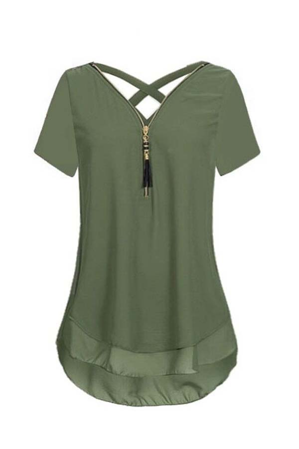 Lovely Stylish Patchwork Army Green Plus Size Blouse