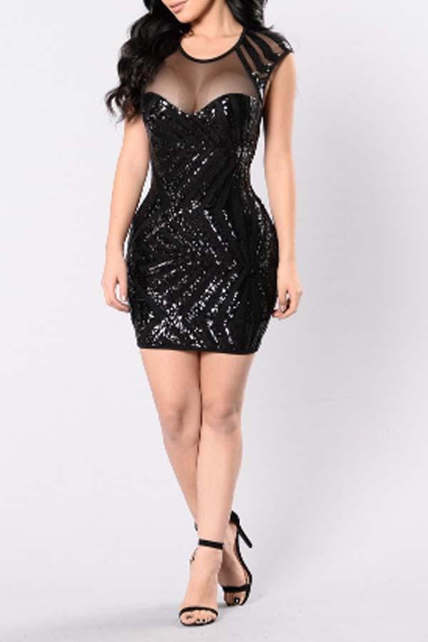 Lovely Party Print Black Mini Dress