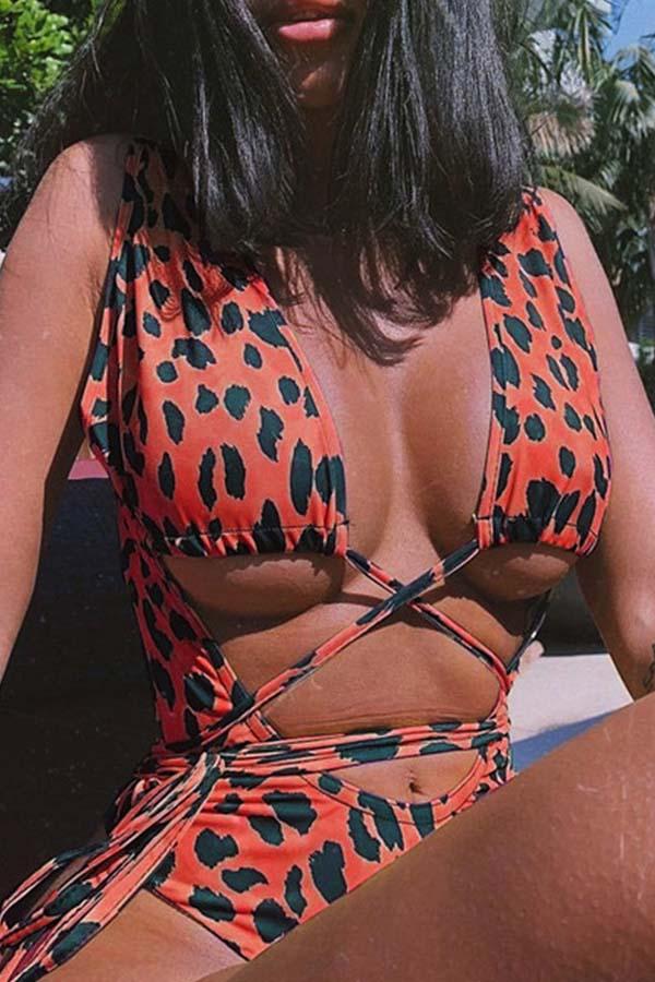 Lovely Leoprad Jacinth One-piece Swimsuit