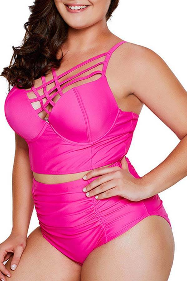 Lovely Chi Hollow-out Rose Red Plus Size Two-piece Swimsuit