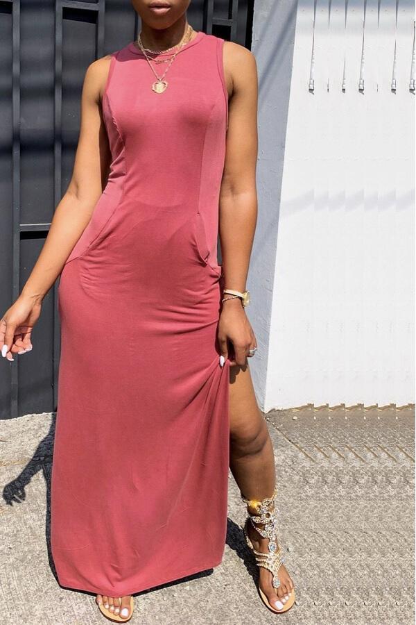 Lovely Casual O Neck Side Slit Pink Floor Length Daily Dress