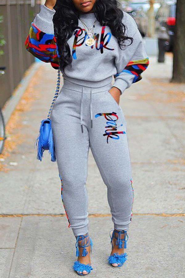Lovely Casual O Neck Patchwork Grey Two-piece Pants Set