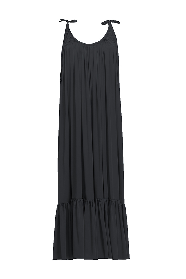 Lovely Chic Backless Loose Black Plus Size Maxi Dress