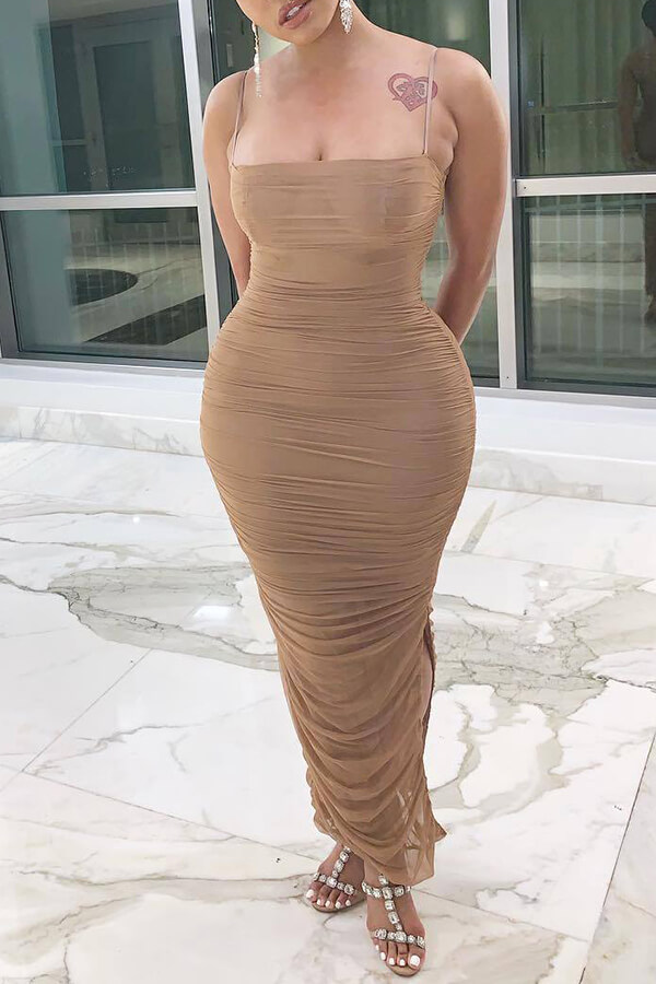 Lovely Sexy Fold Design Khaki Ankle Length Dress