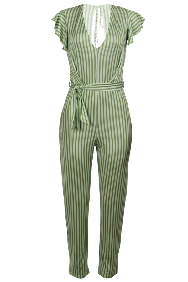 Lovely Chic Striped Print Green One-piece Jumpsuit