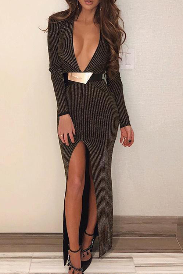 lovelywholesale / Lovely Trendy Deep V Neck Striped Brown Ankle Length Dress