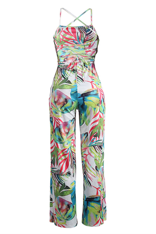 Lovely Stylish Print Backless Green One-piece Jumpsuit
