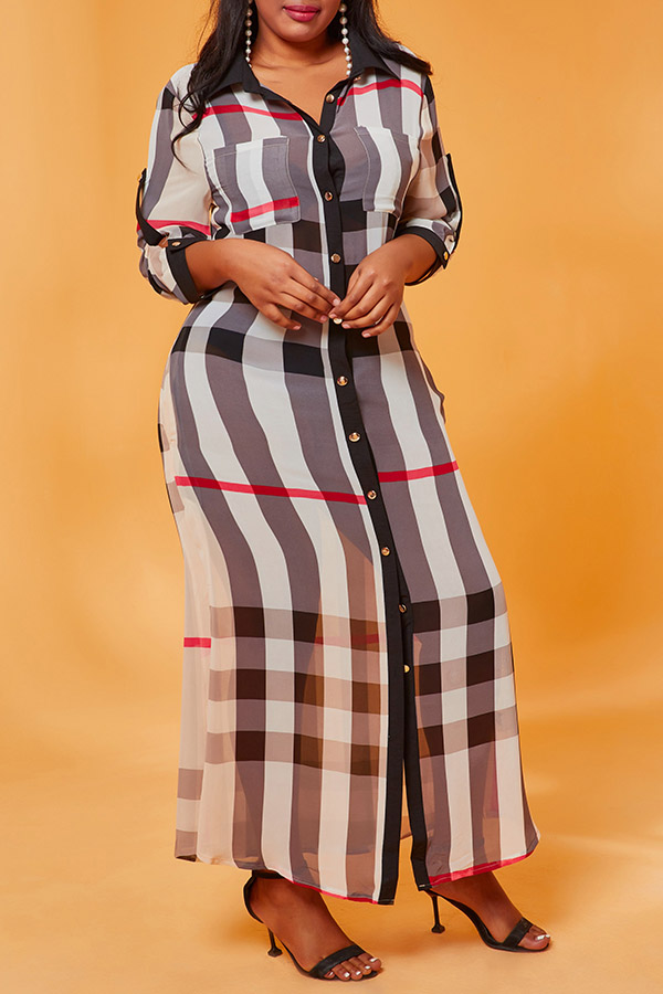 Lovely Casual Plaid Print Beige Ankle Length Plus Size Dress