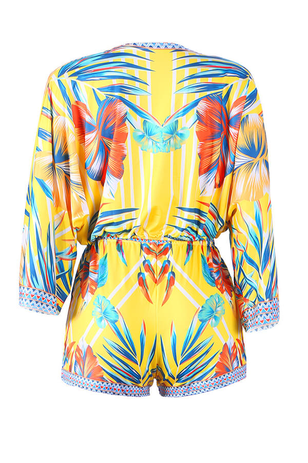 Lovely Chic V Neck Print Yellow Two-piece Shorts Set