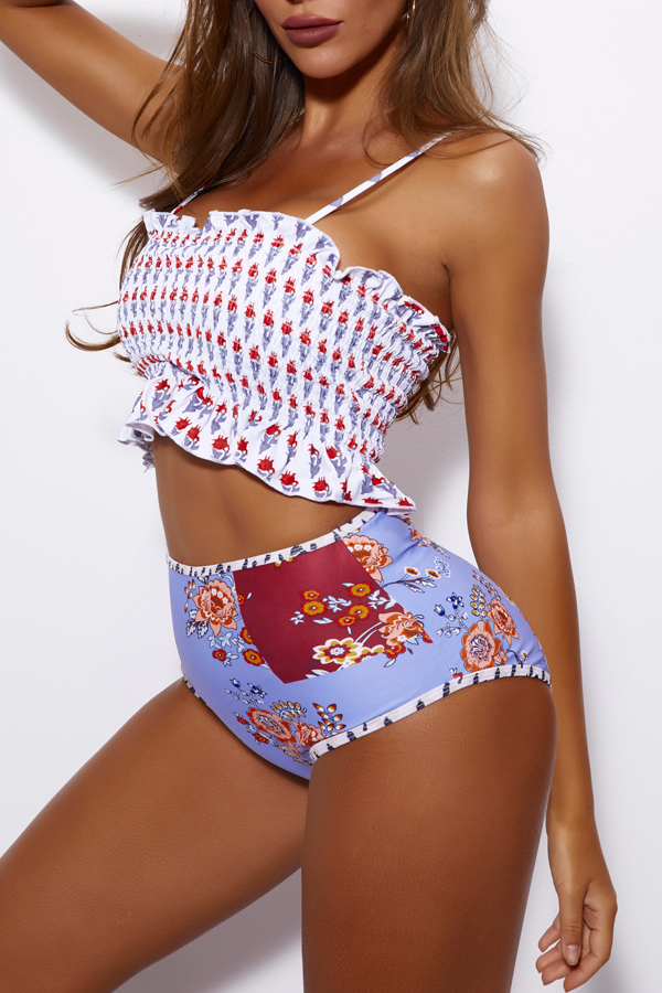Lovely Off The Shoulder Printed High Waist Blue Two-piece Swimsuit