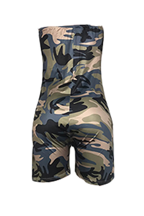 Lovely Casual Camouflage Printed Army Green One-piece Romper