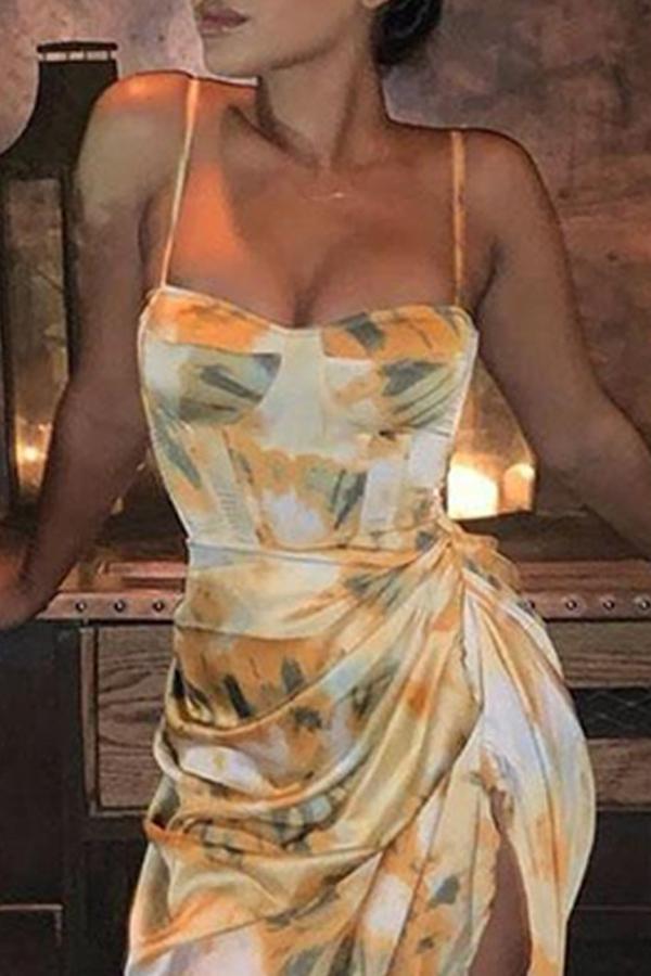 Lovely Bohemian Fold Design Print Light Yellow Mid Calf Dress