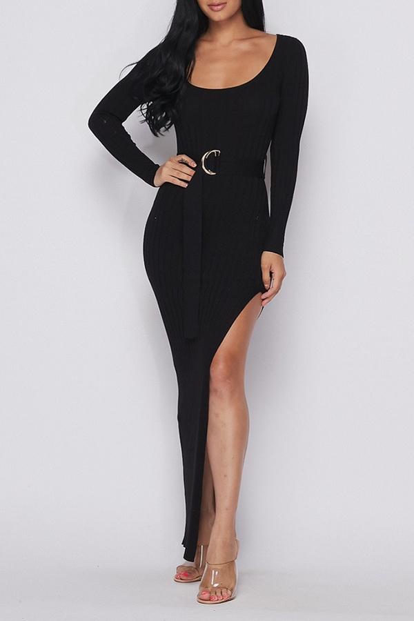 lovelywholesale / Lovely Chic High Slit Black Ankle Length Dress