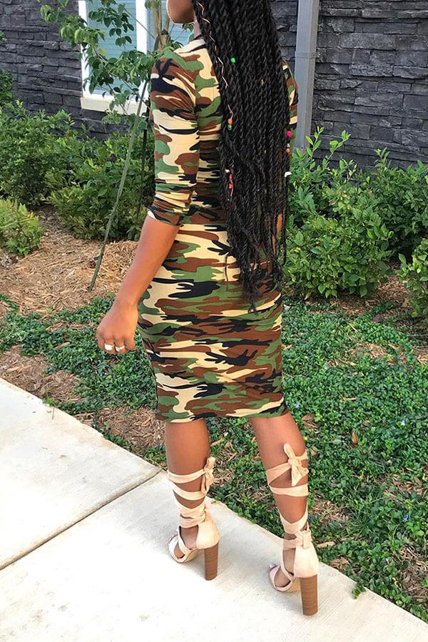 Lovely Chic Camo Print Knee Length Dress