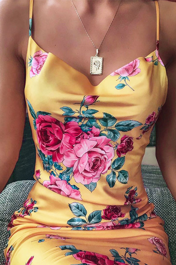 Lovely Chic Spaghetti Strap Print Yellow Mini Dress