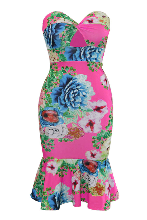 Lovely Chic Print Flounce Rose Red Mid Calf Dress