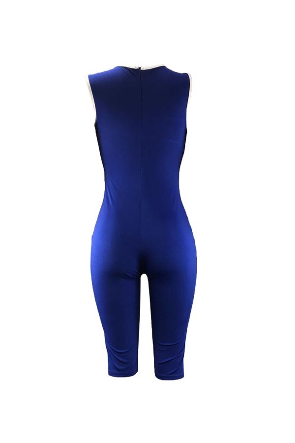 Lovely Trendy Print Blue One-piece Romper