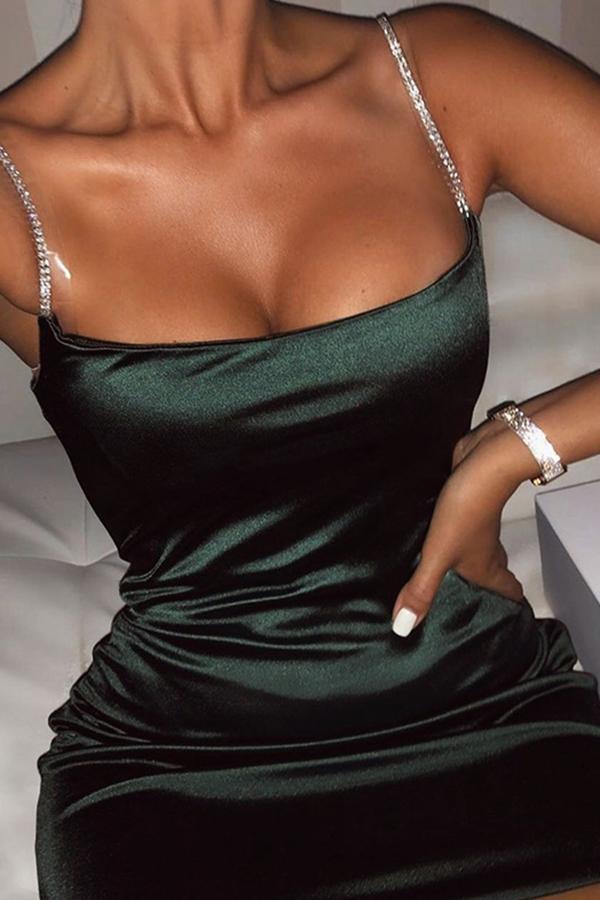 Lovely Trendy Spaghetti Strap Black Mini Dress