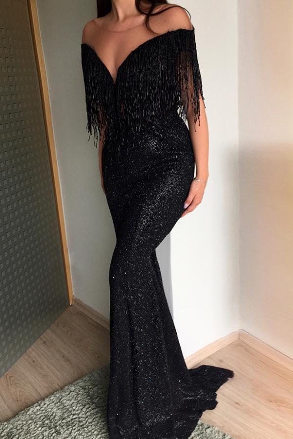 Lovely Party Tassel Design Black Maxi Dress