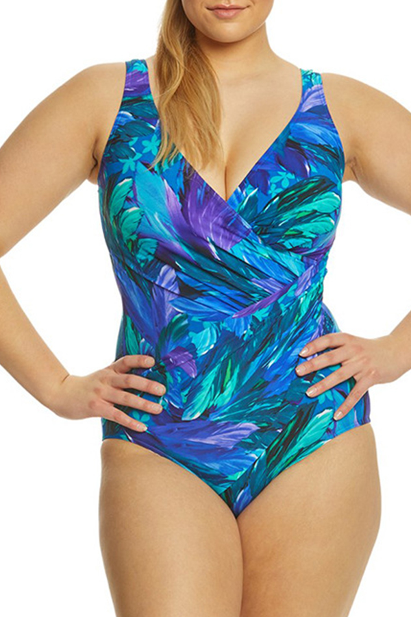 Lovely Print Multicolor Plus Size One-piece Swimsuit