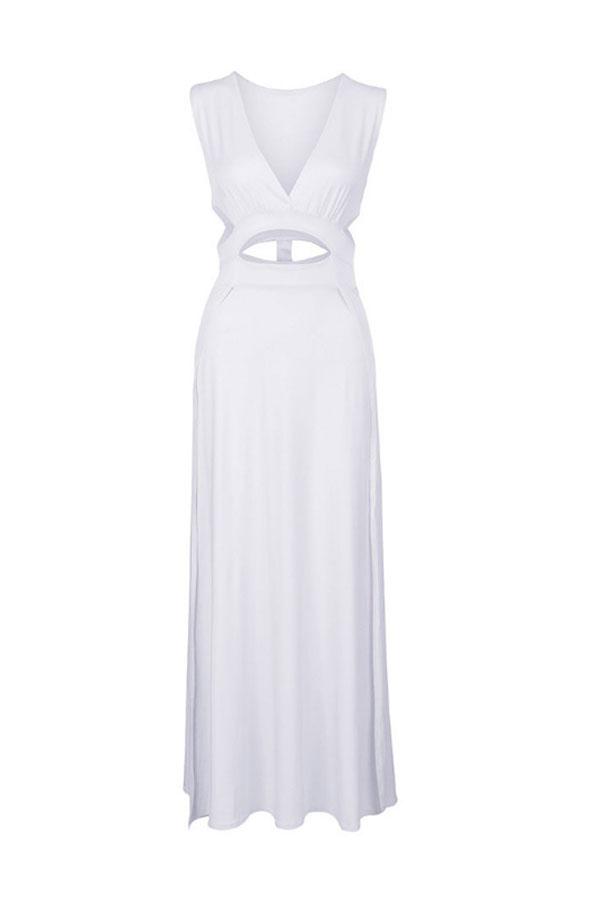 Lovely Sexy High Slit White Evening Dress