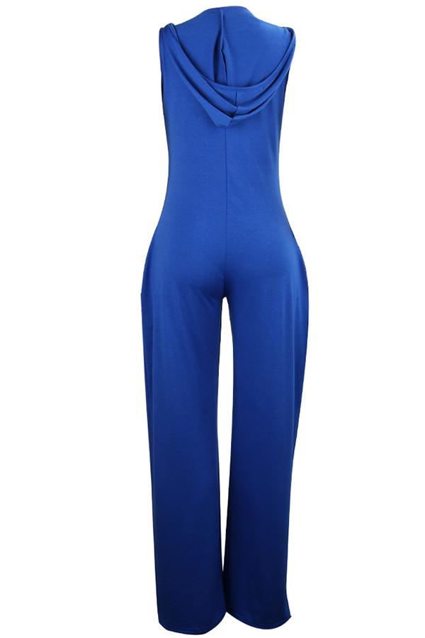 LW BASICS Leisure Loose Blue One-piece Jumpsuit