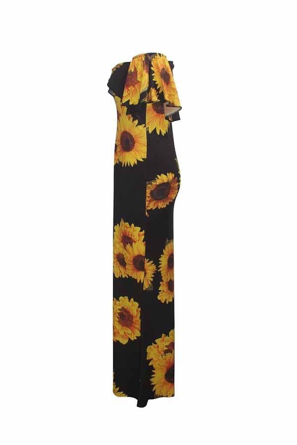 Lovely Sweet Dew Shoulder Print Yellow Maxi Dress