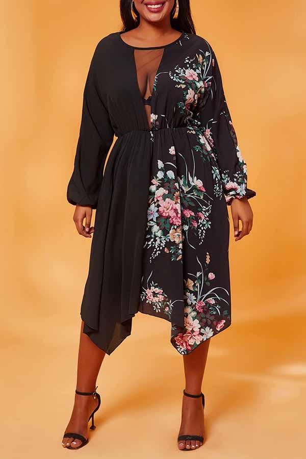 Lovely Casual Asymmetrical Patchwork Black Knee Length Plus Size Dress