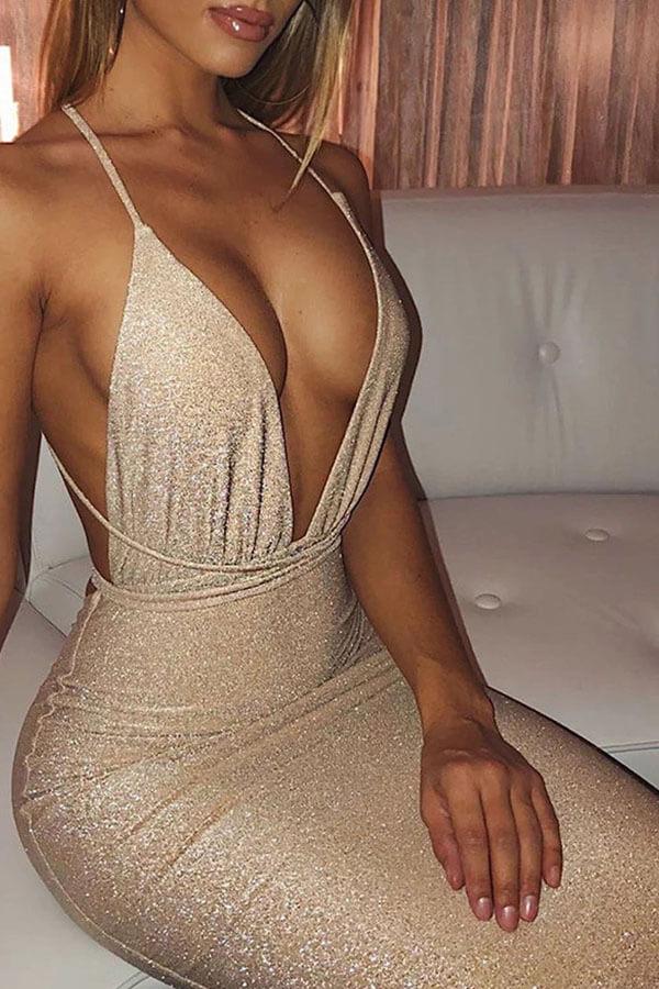 lovelywholesale / Lovely Chic Deep V Neck Gold Mid Calf Dress