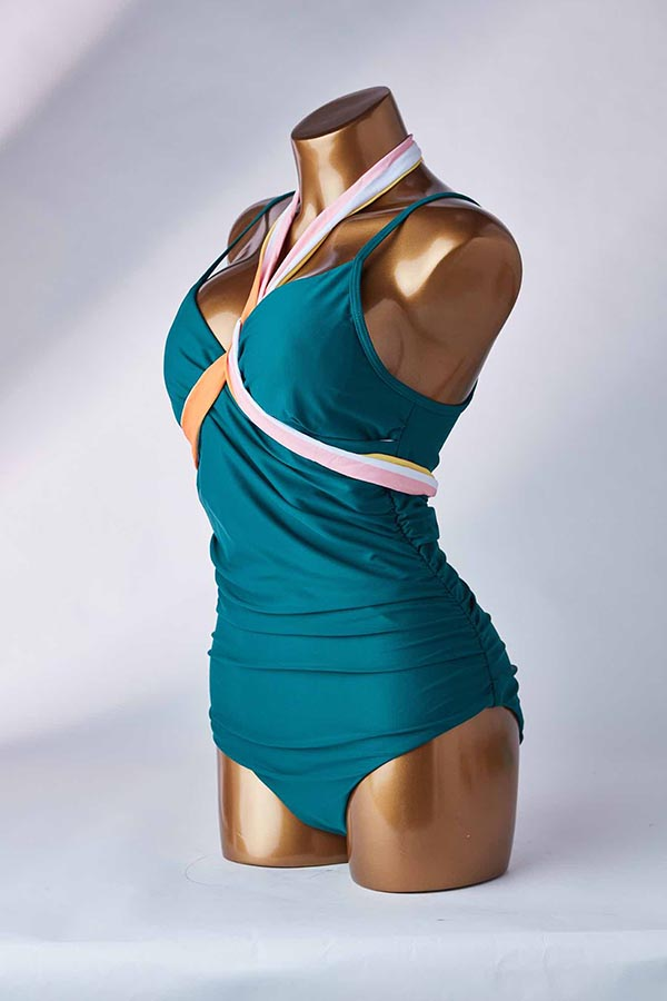 Lovely Fold Design Green One-piece Swimsuit