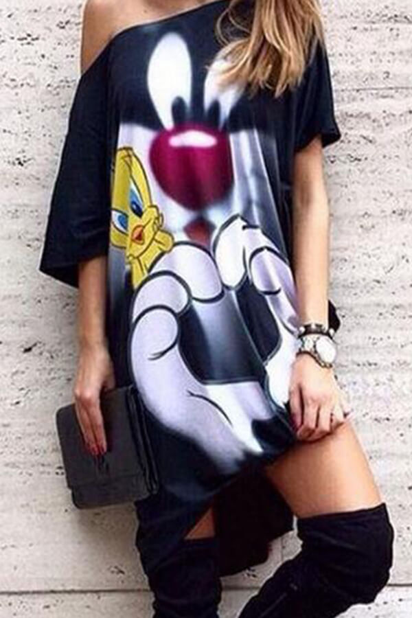 Lovely Casual Print Loose Black Mini Dress
