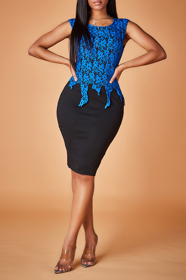 lovelywholesale / Lovely Work Patchwork Black Mid Calf Dress