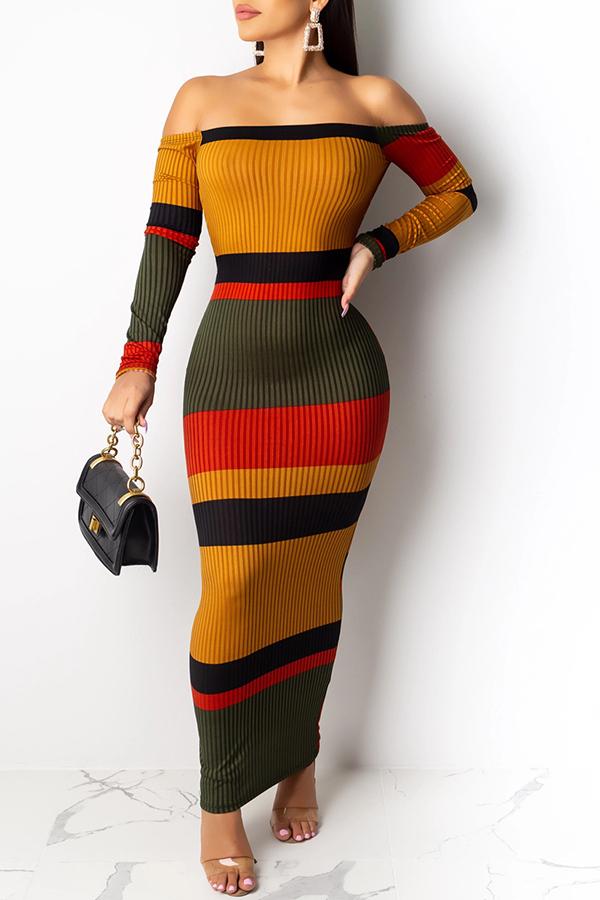 lovelywholesale / Cheap Dress Lovely Trendy Striped Multiclor Ankle Length Dress