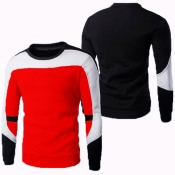 Lovely Casual Patchwork Red T-shirt