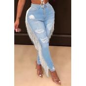Lovely Chic Tassel Design Baby Blue Jeans