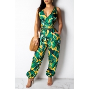 Lovely Chic Print Hollow-out Green One-piece Jumps