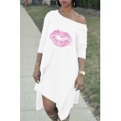Lovely Chic Lip Print White Knee Length Dress