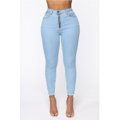 Lovely Chic Zipper Design Skinny Baby Blue Jeans