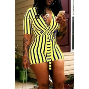 Lovely Casual Striped Print Yellow One-piece Rompe